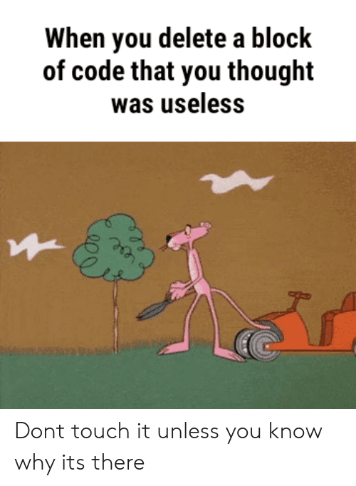 Thought, Code, and Touch: When you delete a block  of code that you thought  was useless Dont touch it unless you know why its there