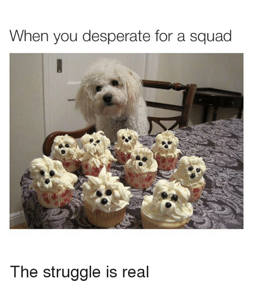 Desperate, Funny, and Memes: When you desperate for a squad The struggle is real