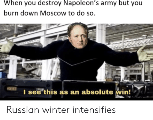 Winter, Army, and History: When you destroy Napoleon's army but you  burn down Moscow to do so.  I see this as an absolute win! Russian winter intensifies