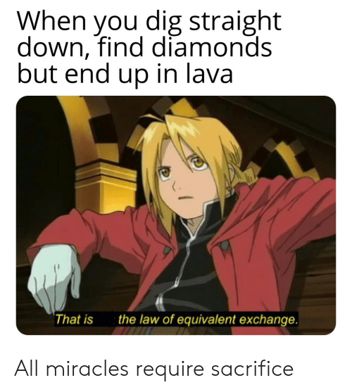 When You Dig Straight Down Find Diamond but End Up in Lava That Is