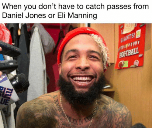 Eli Manning, Nfl, and Daniel: When you don't have to catch passes from  Daniel Jones or Eli Manning  T5  UE