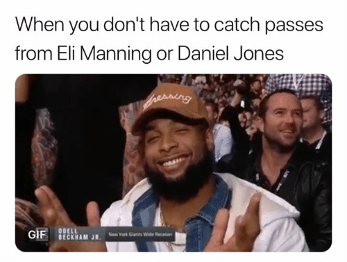 Eli Manning, New York, and Nfl: When you don't have to catch passes  from Eli Manning or Daniel Jones  BECKHAM JR New York Gants Wide Recei