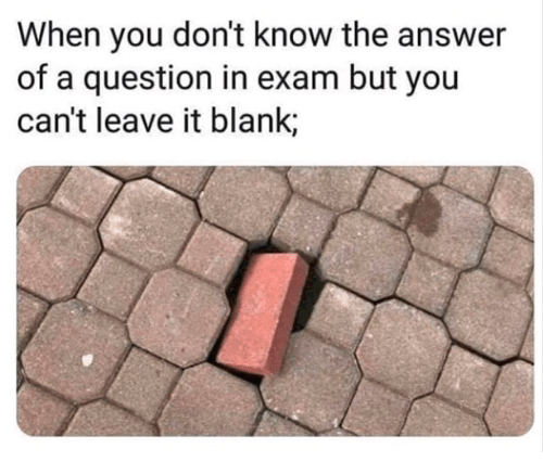 Blank, Answer, and You: When you don't know the answer  of a question in exam but you  can't leave it blank;