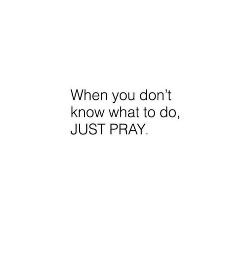 You, What, and When You: When you don't  know what to do,  JUST PRAY.