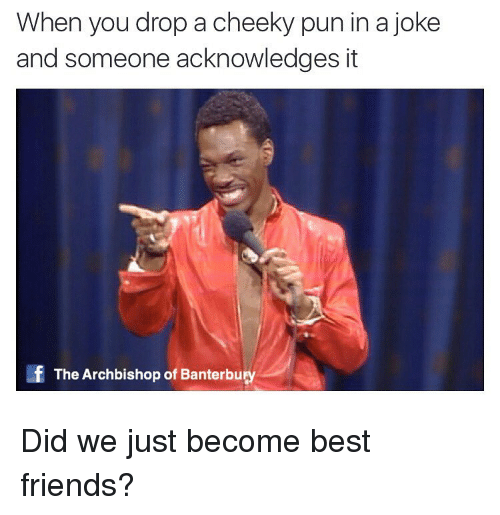 Best Friend, Friends, and Puns: When you drop a cheeky pun in a joke  and someone acknowledges it  If The Archbishop of Banterbury Did we just become best friends?