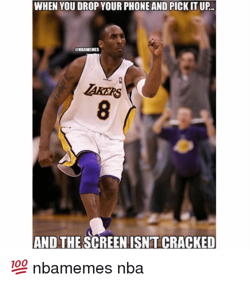 Basketball, Nba, and Phone: WHEN YOU DROP YOUR PHONE AND PICK ITUP.  @NBAMEMES  AND THE SCREEN ISNTCRACKED 💯 nbamemes nba