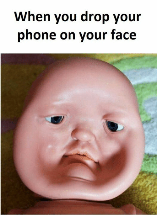 Dropping phone on face meme