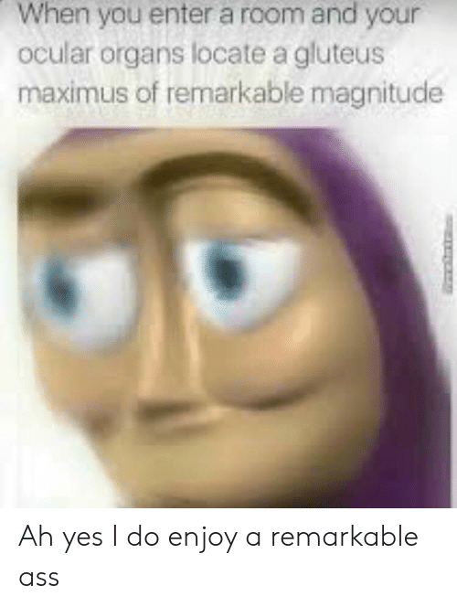 Ass, Maximus, and Yes: When you enter a room and your  ocular organs locate a gluteus  maximus of remarkable magnitude Ah yes I do enjoy a remarkable ass