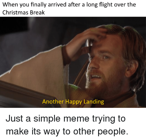 Christmas, Meme, and Break: When you finally arrived after a long flight over the  Christmas Break  Another Happy Landing