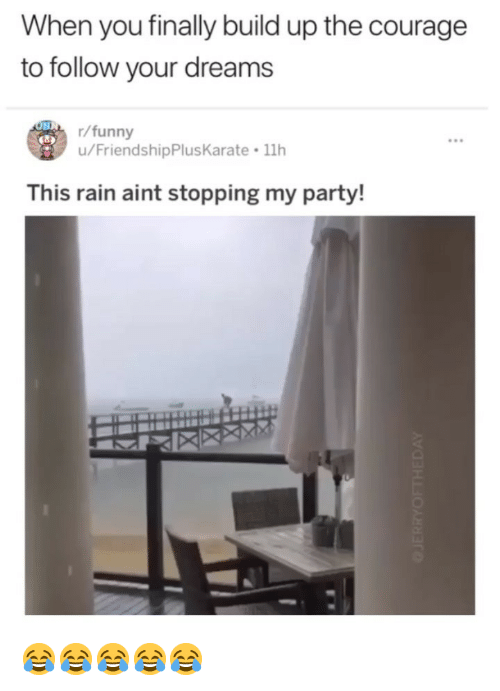 Funny, Party, and Rain: When you finally build up the courage  to follow your dreams  r/funny  u/FriendshipPlusKarate 11h  This rain aint stopping my party! 😂😂😂😂😂