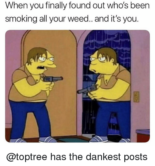 Smoking, Weed, and Been: When you finally found out who's been  smoking all your weed.. and it's you. @toptree has the dankest posts