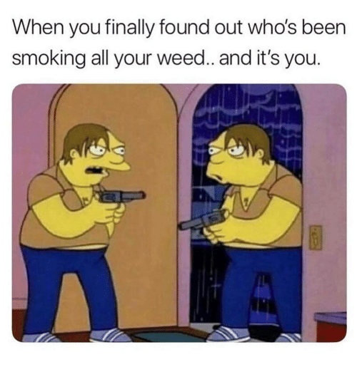 Smoking, Weed, and Been: When you finally found out who's been  smoking all your weed.. and it's you.