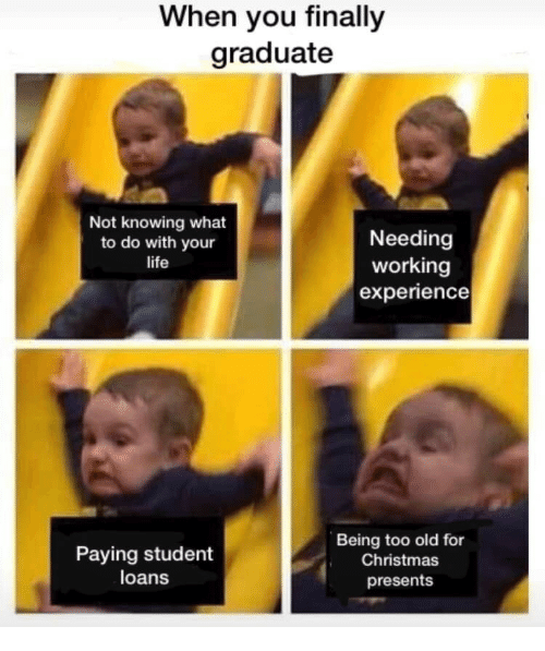 Christmas, Life, and Loans: When you finally  graduate  Not knowing what  to do with your  life  Needing  working  experience  Paying student  loans  Being too old for  Christmas  presents