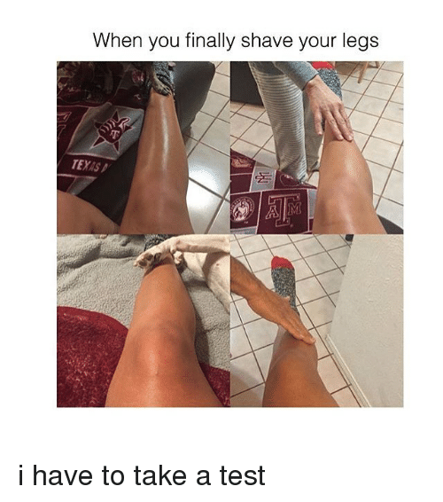 Finals, Leggings, and Test: When you finally shave your legs i have to take a test