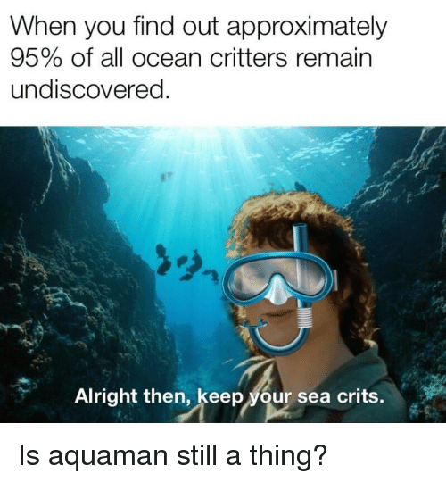 Ocean, Alright, and Aquaman: When you find out approximately  95% of all ocean critters remain  undiscovered  Alright then, keep your sea crits. Is aquaman still a thing?