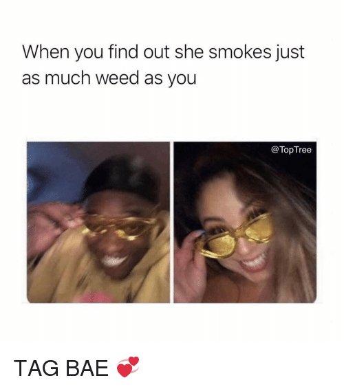 Bae, Memes, and Weed: When you find out she smokes just  as much weed as you  @TopTree TAG BAE 💞