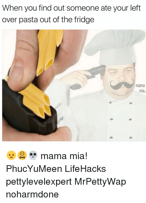 Memes, 🤖, and Mia: When you find out someone ate your left  over pasta out of the fridge  mama  mia 😦😩💀 mama mia! PhucYuMeen LifeHacks pettylevelexpert MrPettyWap noharmdone