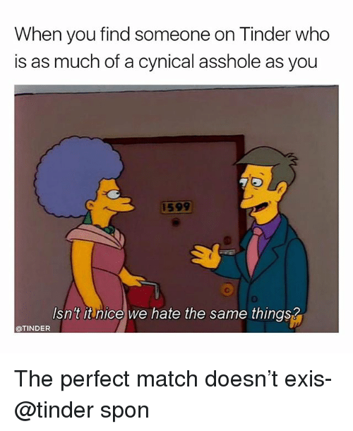 Tinder, Cynical, and Match: When you find someone on Tinder who  is as much of a cynical asshole as you  1599  Isn't itnice we hate the same things?  OTINDER The perfect match doesn't exis- @tinder spon