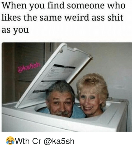 Memes, Shit, and Weird: When you find someone who  likes the same Weird as Shit  as you 😂Wth Cr @ka5sh