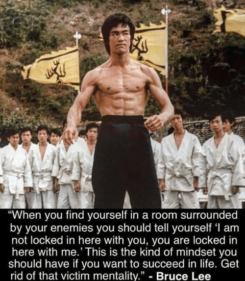 "Life, Memes, and Bruce Lee: ""When you find yourself in a room surrounded  by your enemies you should tell yourself 'l am  not locked in here with you, you are locked in  here with me.' This is the kind of mindset you  should have if you want to succeed in life. Get  rid of that victim mentality."" - Bruce Lee"