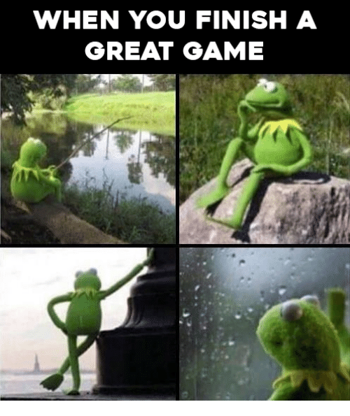 Video Games and Finish: WHEN YOU FINISH A  GREAT GAME
