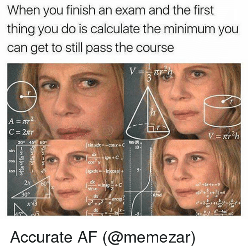 Af, Memes, and 🤖: When you finish an exam and the first  thing you do is calculate the minimum you  can get to still pass the course  30° 45 60o  10  sin  ton  3  2x 60  dx  six  +bx + c =0 Accurate AF (@memezar)