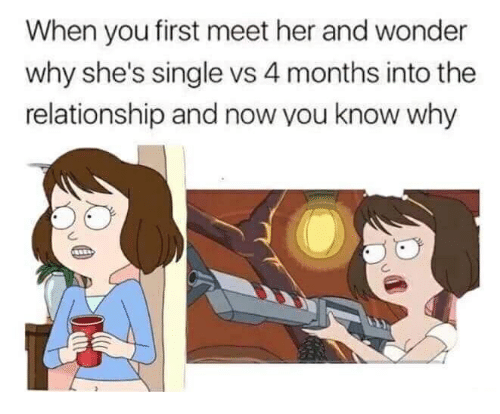 Wonder, Single, and Her: When you first meet her and wonder  why she's single vs 4 months into the  relationship and now you know why
