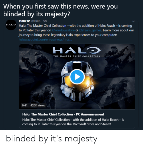 When You First Saw This News Were You Blinded by Its Majesty? Halo