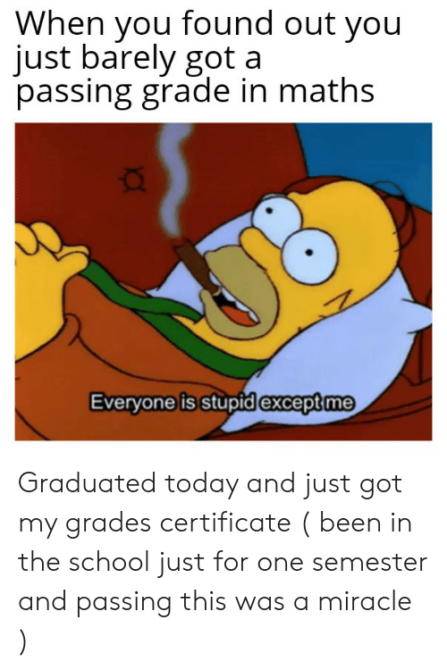 School, Today, and Been: When you found out you  just barely got a  passing grade in maths  Everyone is stupid except me Graduated today and just got my grades certificate ( been in the school just for one semester and passing this was a miracle )