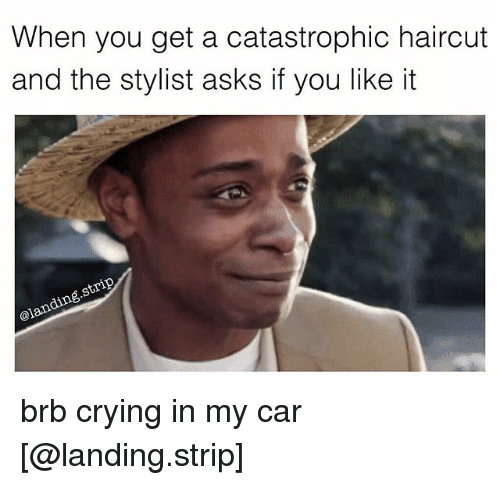 Crying, Haircut, and Memes: When you get a catastrophic haircut  and the stylist asks if you likeit  @lan brb crying in my car [@landing.strip]