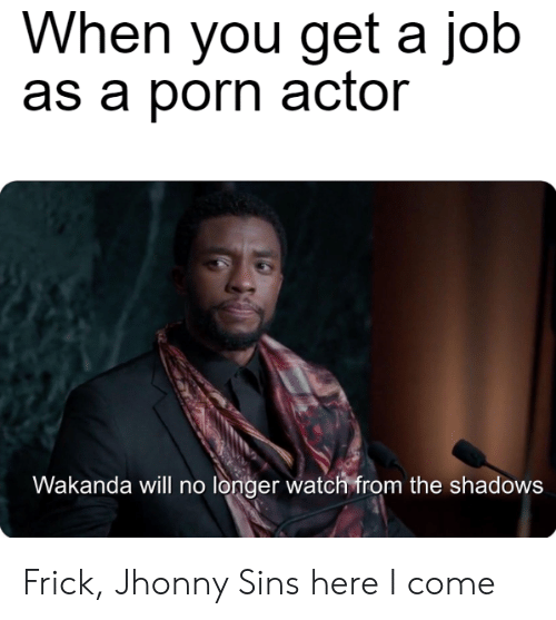 Frick, Porn, and Watch: When you get a job  as a porn actor  Wakanda will no longer watch from the shadows Frick, Jhonny Sins here I come