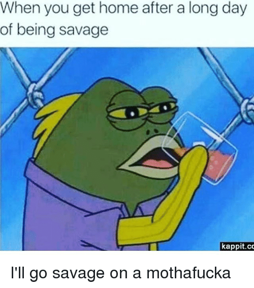 Memes, Savage, and Home: When you get home after a long day  of being savage  kappit.co I'll go savage on a mothafucka