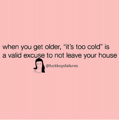 "House, Girl Memes, and Cold: when you get older, ""it's too cold"" is  a valid excuse to not leave your house  @fuckboysfailures"