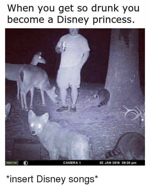 Disney, Drunk, and Camera: When you get so drunk you  become a Disney princess  CAMERA 1  02 JAN 2019 09:26 pm