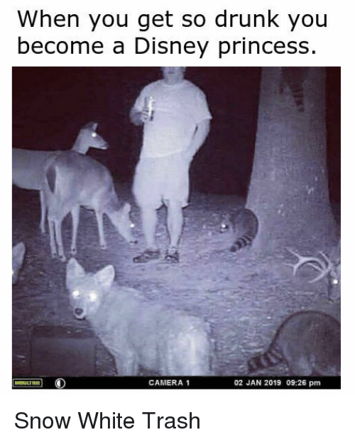 Disney, Drunk, and Snow White: When you get so drunk you  become a Disney princess  CAMERA 1  02 JAN 2019 09:26 pm Snow White Trash