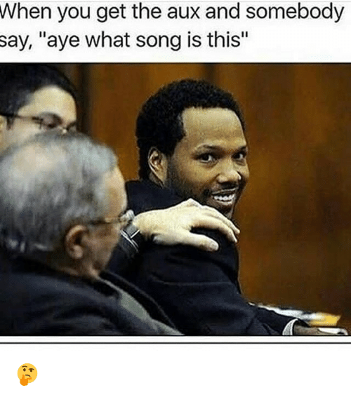 "Memes, 🤖, and Song: When  you get the aux and somebody  ""aye what song is this""  say, 🤔"