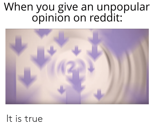 When You Give an Unpopular Opinion on Reddit It Is True