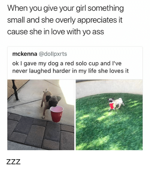 Ass, Life, and Love: When you give your girl something  small and she overly appreciates it  cause she in love with yo ass  mckenna @dollpxrts  ok I gave my dog a red solo cup and l've  never laughed harder in my life she loves it zzz