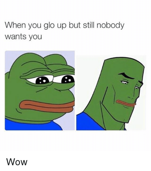 Glo Up, Memes, and Wow: When you glo up but still nobody  wants you Wow