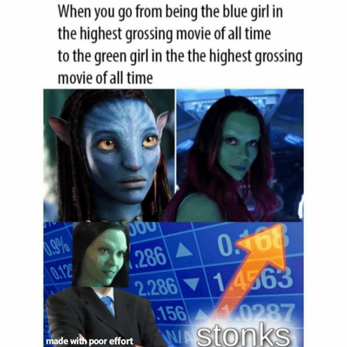 Memes, Blue, and Girl: When you go from being the blue girl in  the highest grossing movie of all time  to the green girl in the the highest grossing  movie of all time  .286 0168  0.12  1 4563  2.286  156  0287  WAStonks  made with poor effort