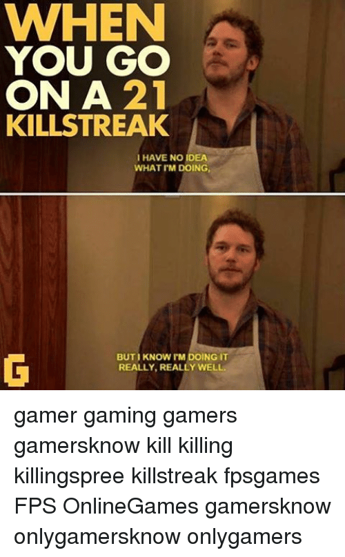 Memes, Gaming, and 🤖: WHEN  YOU GO  ON A  21  KILLSTREAK  I HAVE NO IDEA  WHAT I'M DOING,  BUTI KNOW I'M DOING IT  REALLY, REALLY WELL. gamer gaming gamers gamersknow kill killing killingspree killstreak fpsgames FPS OnlineGames gamersknow onlygamersknow onlygamers