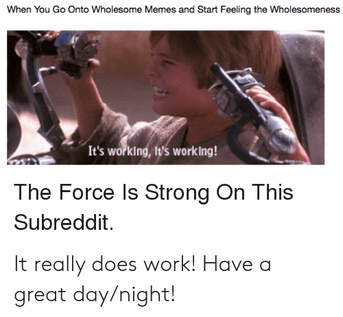 Memes, Work, and Strong: When You Go Onto Wholesome Memes and Start Feeling the Wholesomeness  It's working, It's working!  The Force ls Strong On This  Subreddit. It really does work! Have a great day/night!