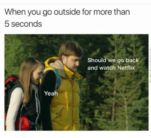 Netflix, Yeah, and Watch: When you go outside for more than  5 seconds  Should we go back  and watch Netflix  Yeah