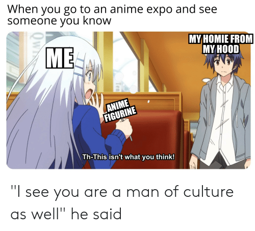 "Anime, Homie, and Hood: When you go to an anime expo and see  someone you know  MY HOMIE FROM  MY HOOD  [l胤  ANIME  FIGURINE  Th-This isn't what you think!  0  ไม่ ""I see you are a man of culture as well"" he said"