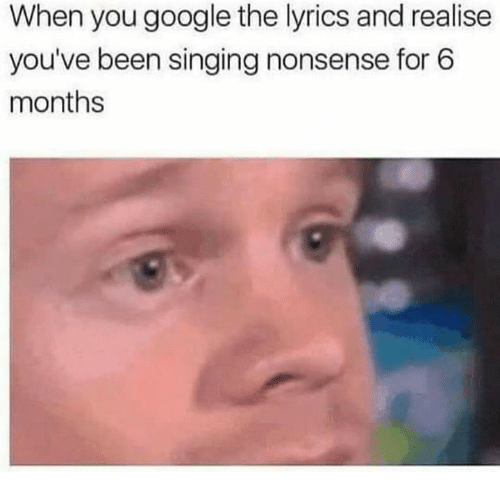 Dank, Google, and Singing: When you google the lyrics and realise  you've been singing nonsense for 6  months