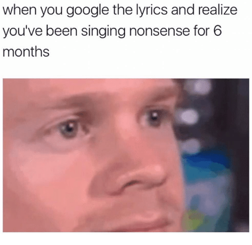 Google, Memes, and Singing: when you google the lyrics and realize  you've been singing nonsense for 6  months