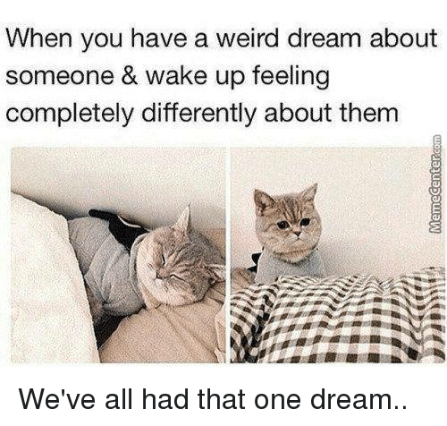 Memes, Weird, and 🤖: When you have a weird dream about  someone & wake up feeling  completely differently about them We've all had that one dream..
