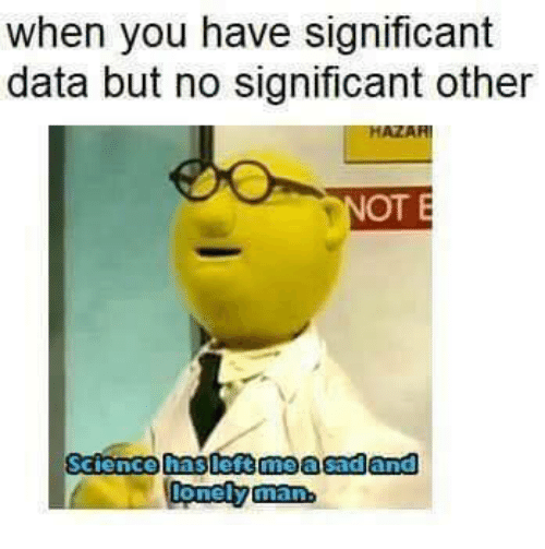 Memes, 🤖, and Data: when you have significant  data but no significant other  AZAR  OT E  Sciencehaslettmealsadan