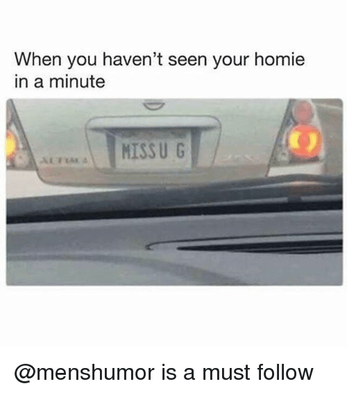 Homie, Memes, and 🤖: When you haven't seen your homie  in a minute @menshumor is a must follow