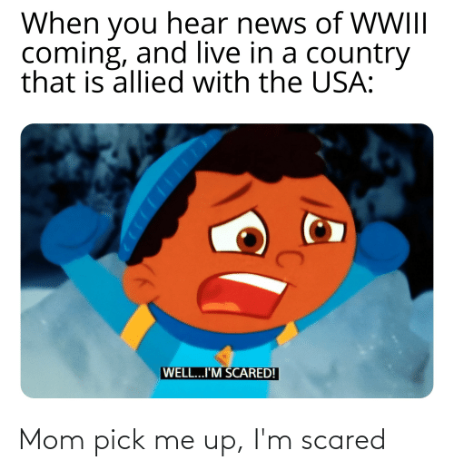 News, Live, and Dank Memes: When you hear news of WWI  coming, and live in a country  that is allied with the USA:  I  WELL...I'M SCARED! Mom pick me up, I'm scared